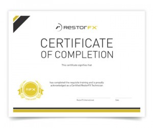 RestorFX Certified Technician Certificate